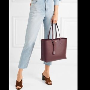 NWT Saint Laurent  Leather Tote w/Leased Zip Pouch